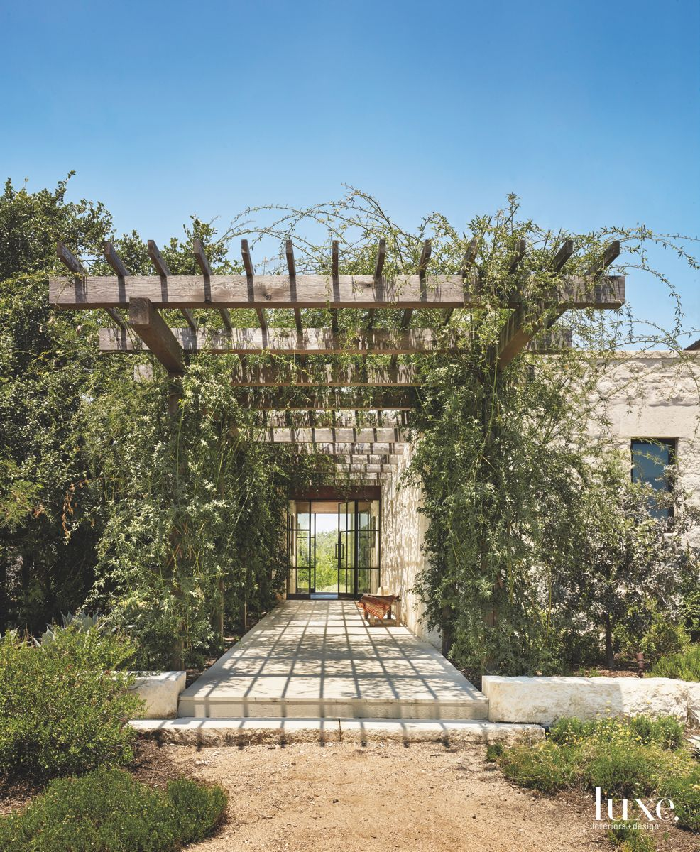 Shady Arbor Pergola Patio with Roses