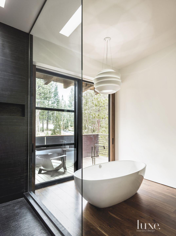 Contemporary Neutral Bathroom with Deck Access