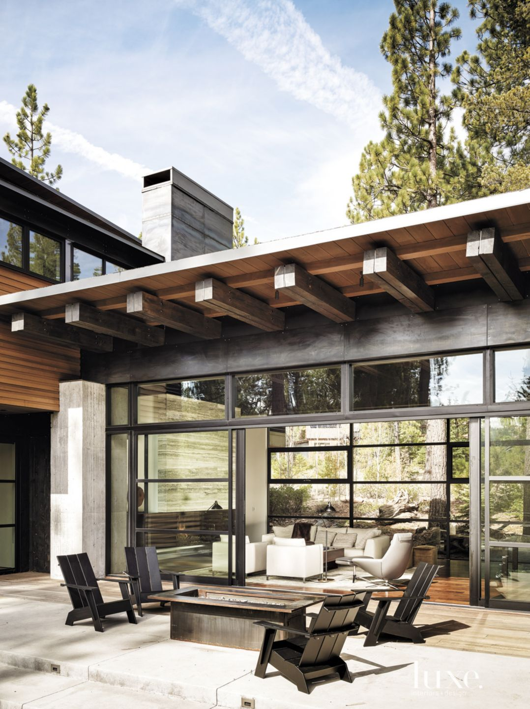 Contemporary Neutral Terrace with Custom Fire Pit