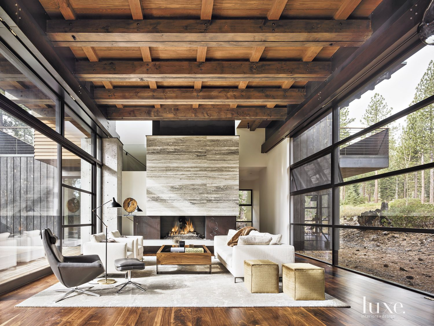 Contemporary Neutral Living Room with Travertine Fireplace