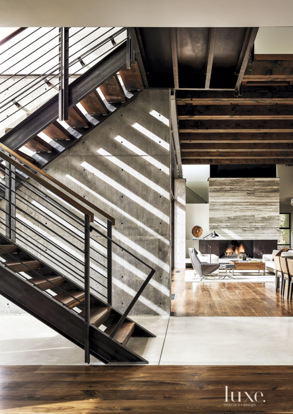 Contemporary Neutral Staircase with Mottled Concrete