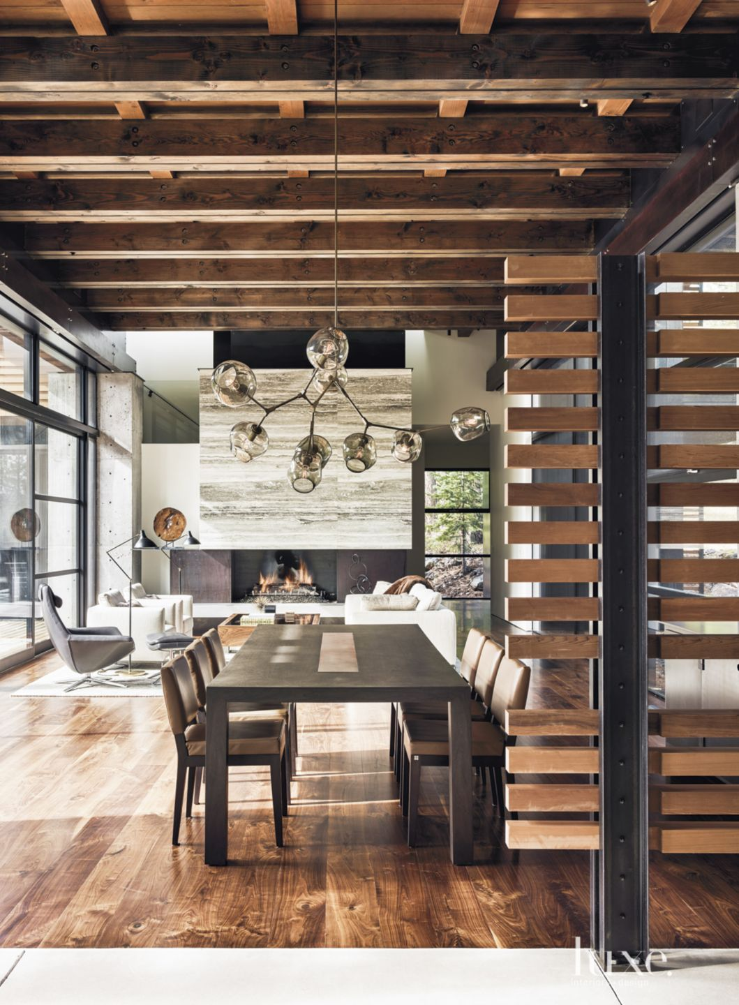 Neutral Contemporary Dining Room with Cedar Screen