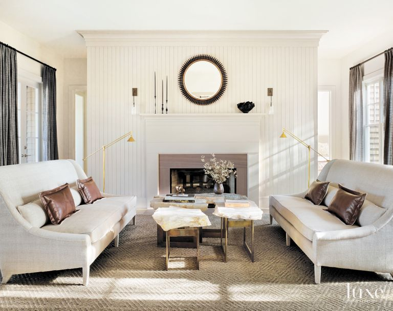 Contemporary Cream Living Room with Beadboard Accent Wall - Luxe ...