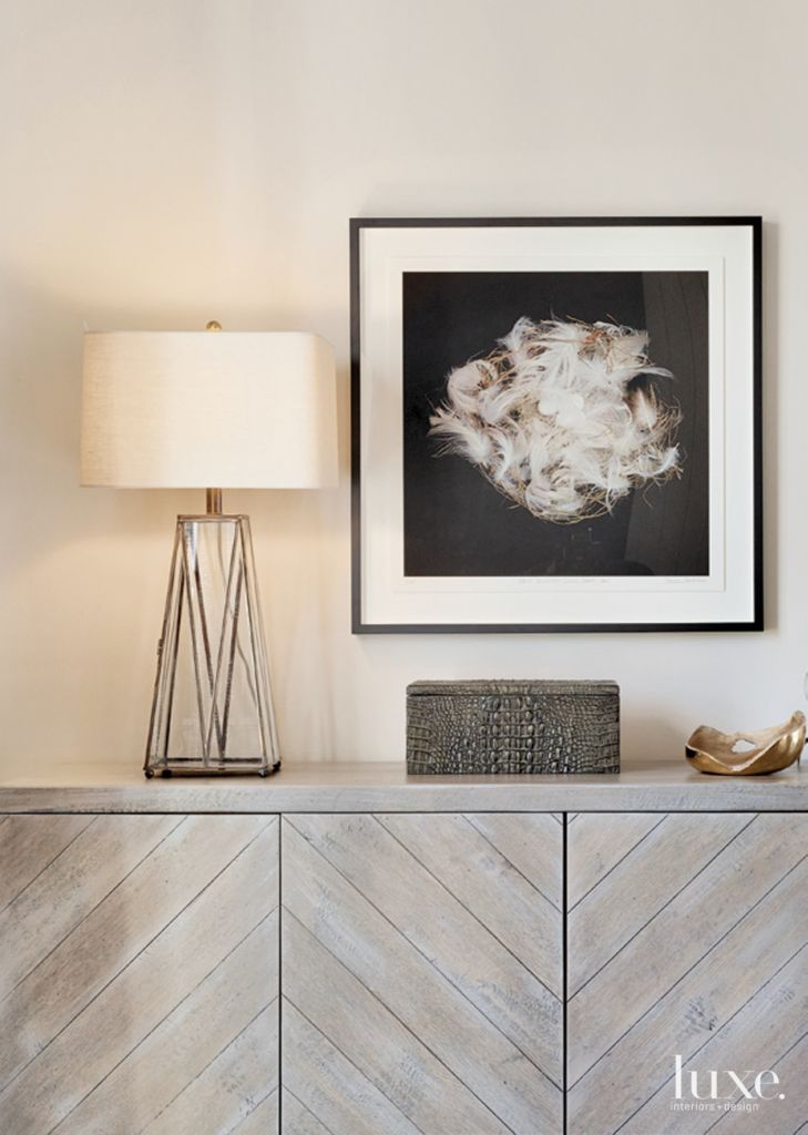contemporary cream living room accent chest - luxe interiors + design