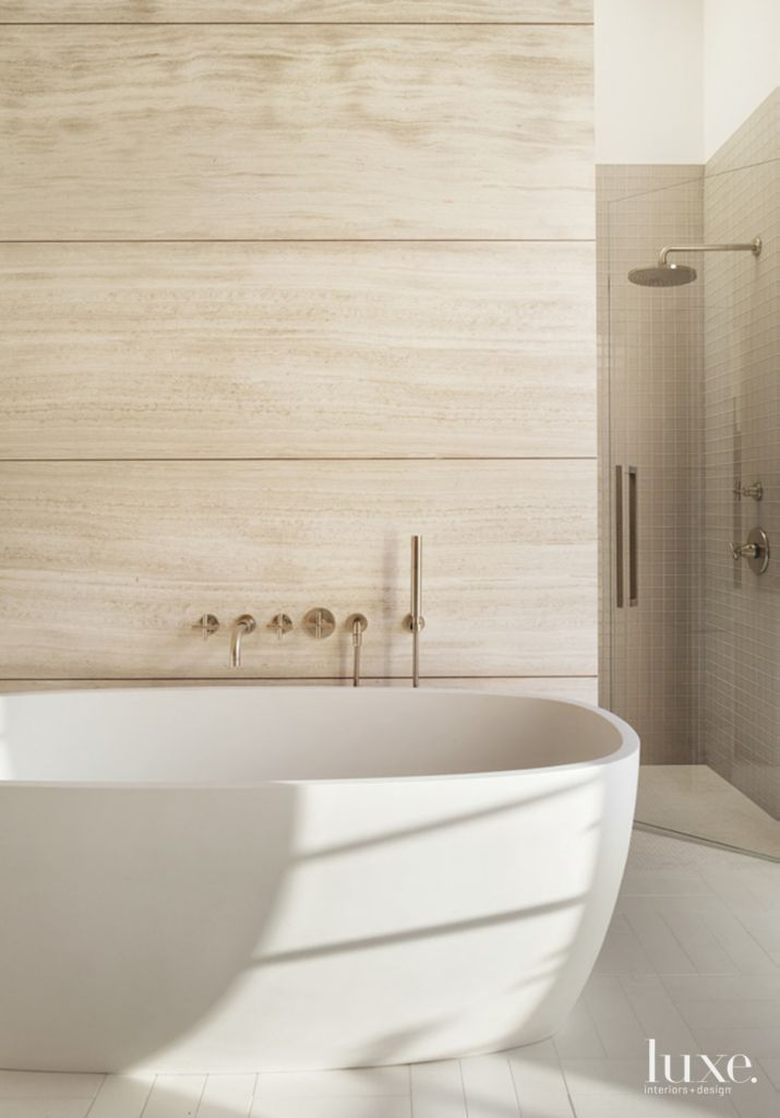 Modern Limestone Master Bath with Soaking Tub - Luxe Interiors + Design