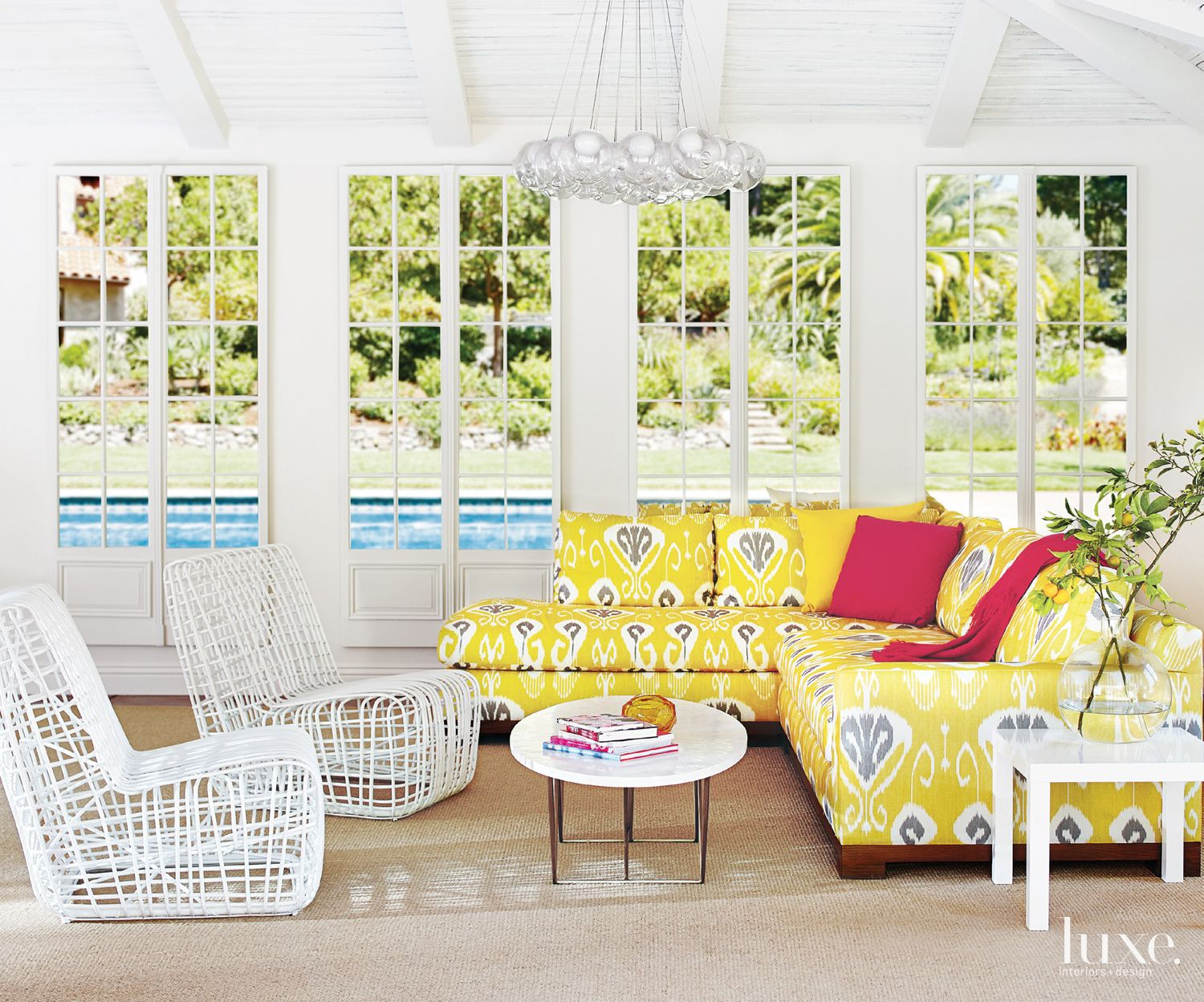 Contemporary White Poolhouse Sitting Area