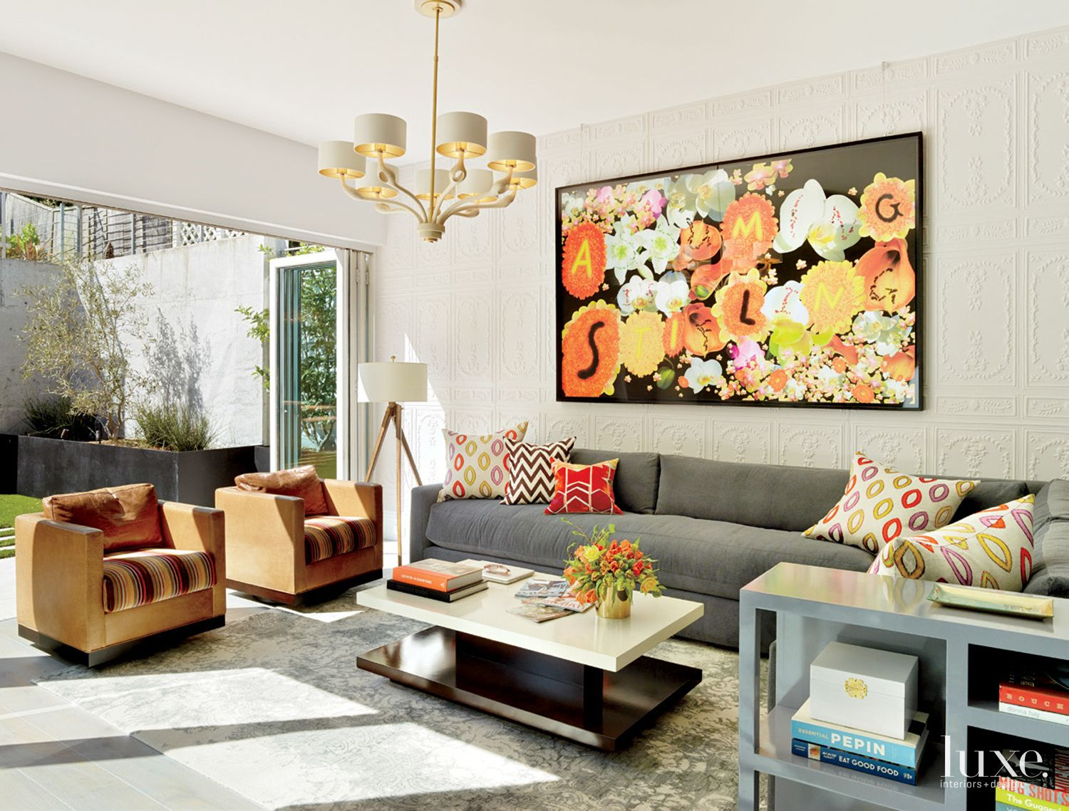 Eclectic Multi-Colored Open Air Family Room
