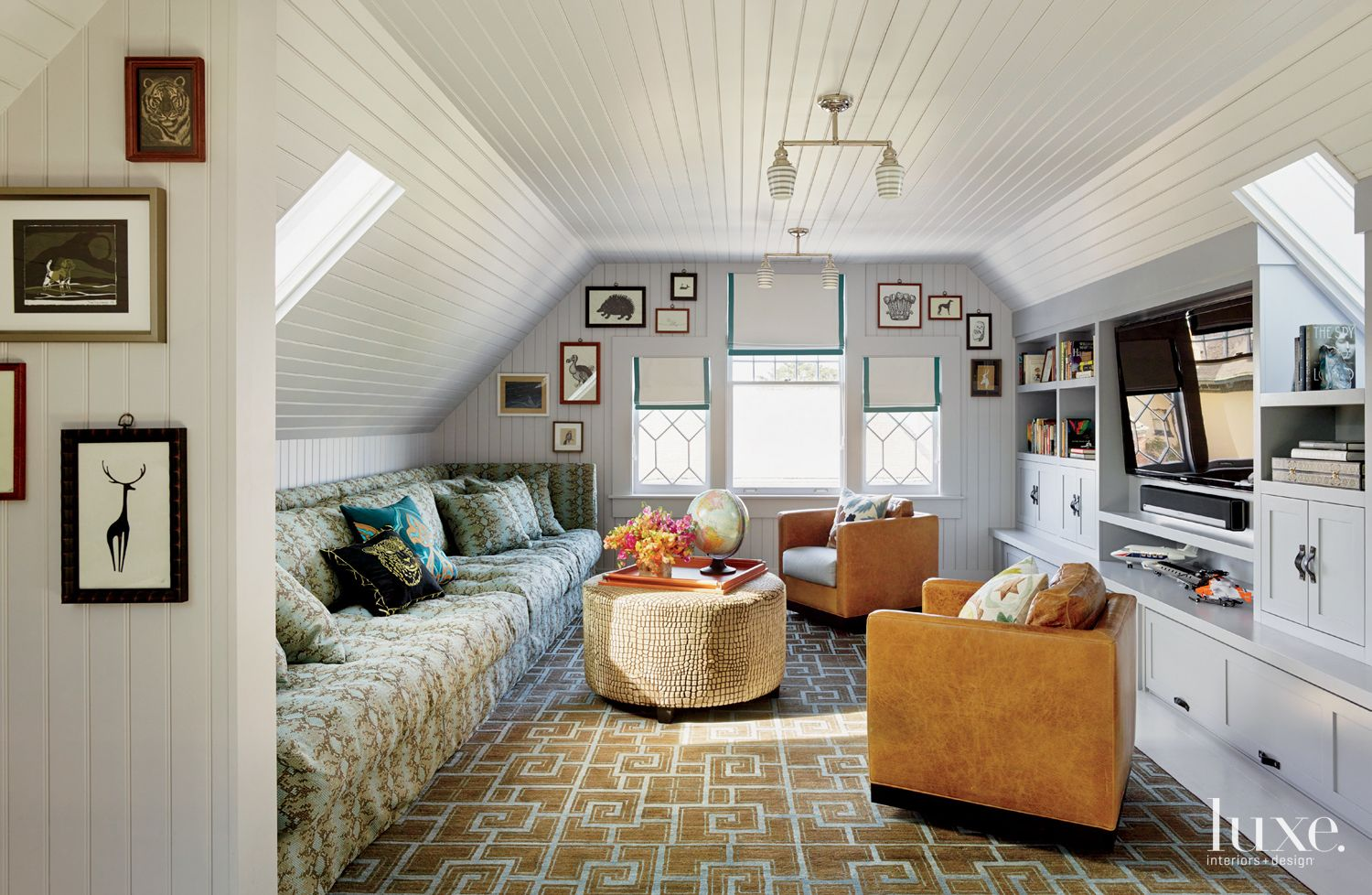 Eclectic Multi-Colored Media Room