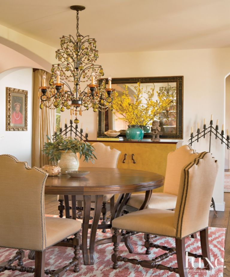 Neutral Mediterranean Style Dining Room Luxe Interiors Design