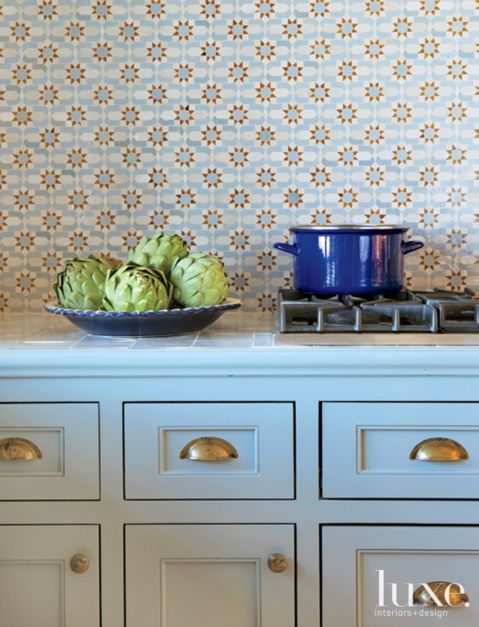 Blue Transitional Kitchen With Colorful Tile Luxesource