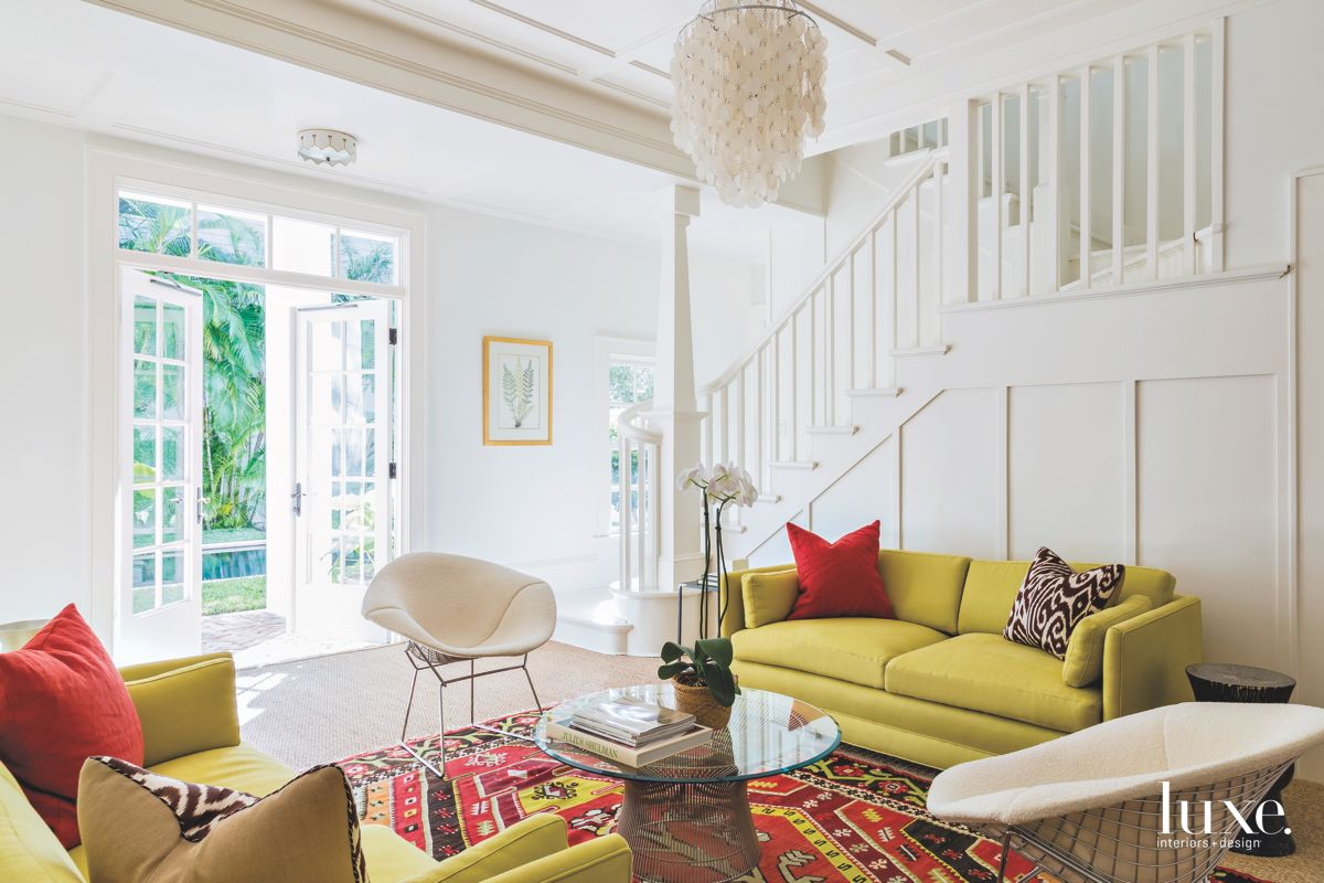 Iconic Furniture Chartreuse Living Room with Chandelier
