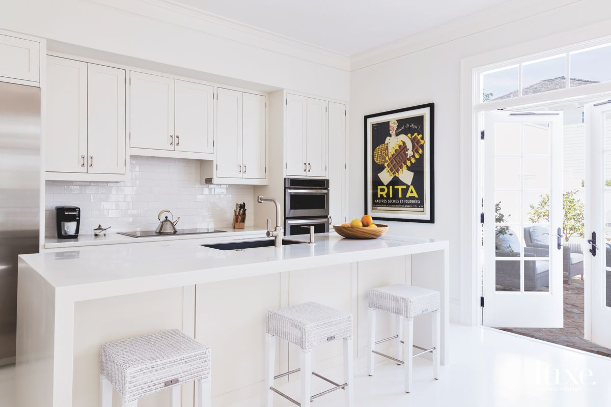 Poster Entirely White Kitchen with Textured Island Bar Stools
