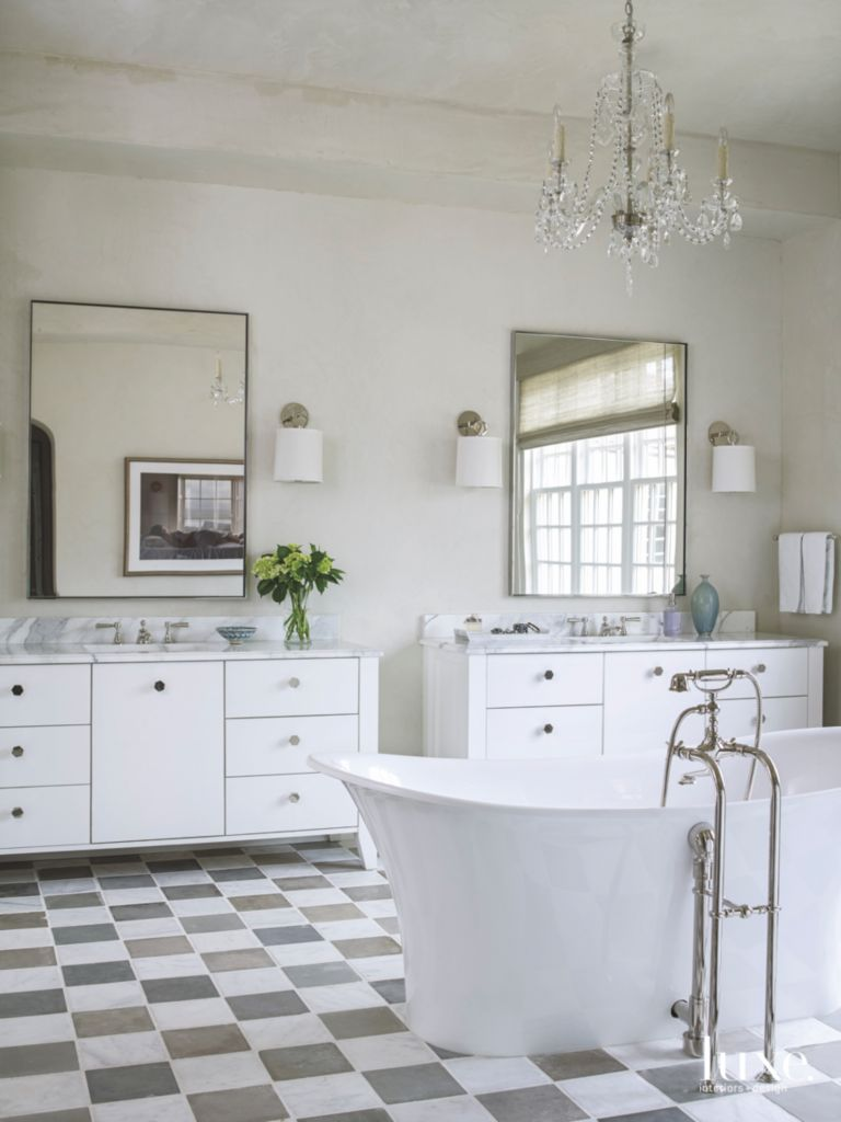 White Checker Tile Floor Master Bathroom with Freestanding Tub and ...