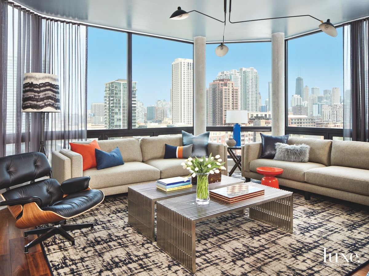 Chicago Living Room with a Skyline View and Large Windows