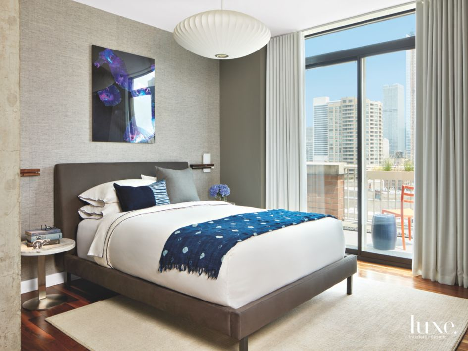Gray Variations Master Bedroom with Wall Art and Chicago ...
