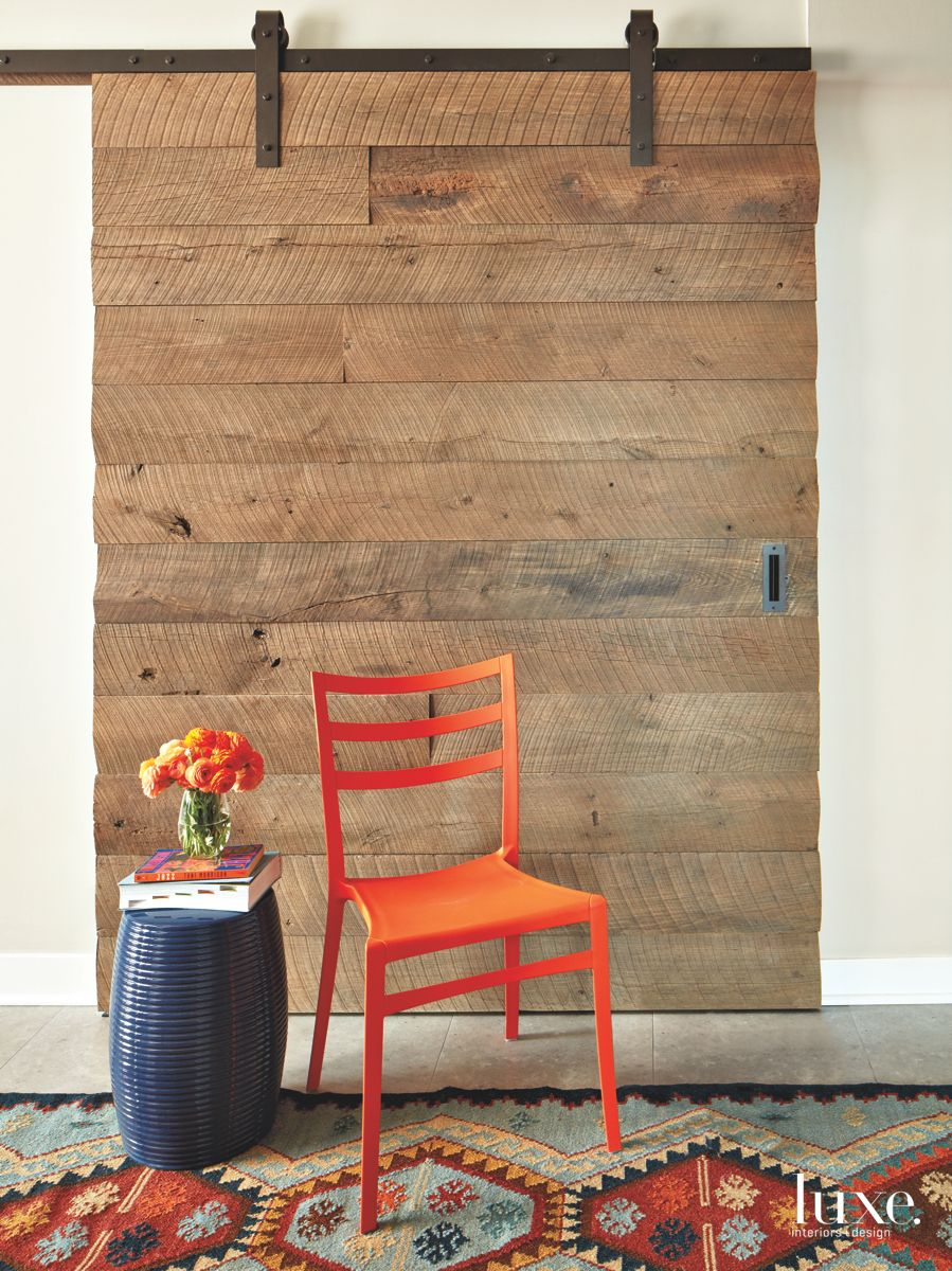 Chicago Chair and Sliding Wood Panel