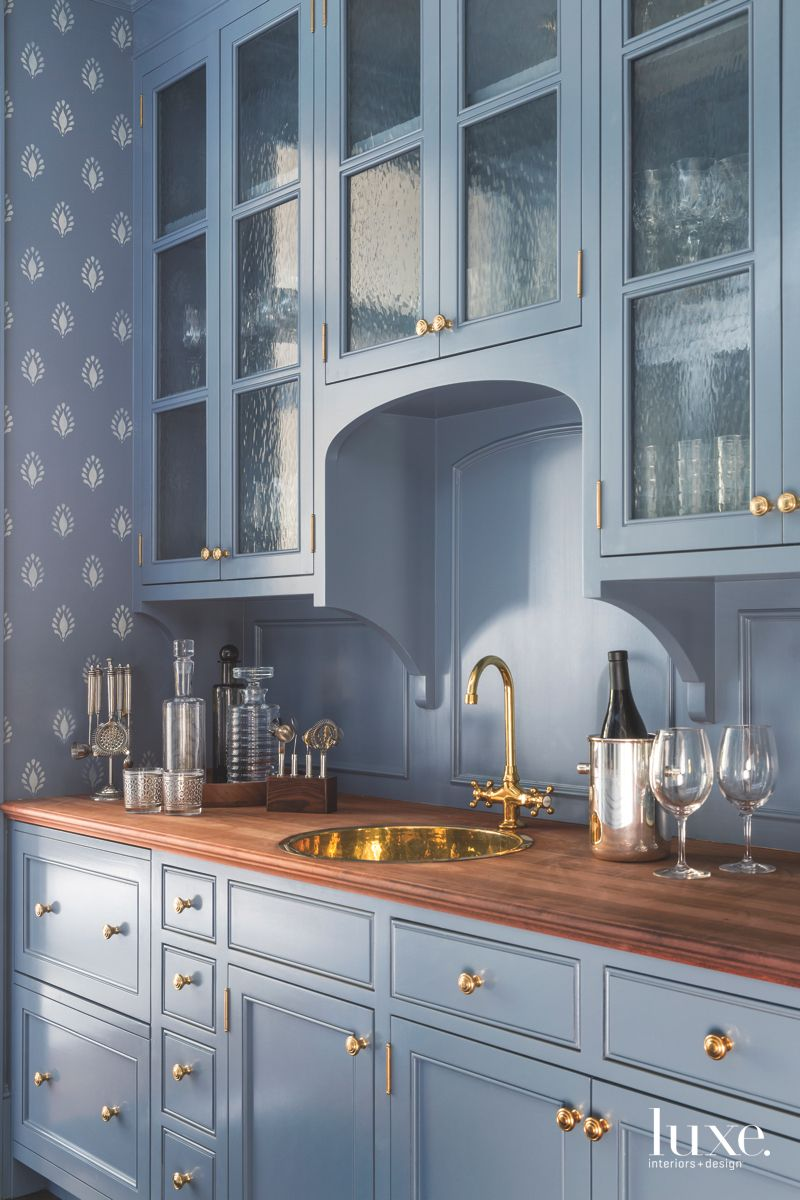 Blue Pantry with Custom Stencil and Sink
