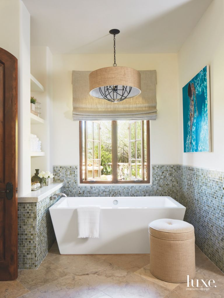 Wainscot style mosaic tile master bathroom with blue artwork and related designs shiifo