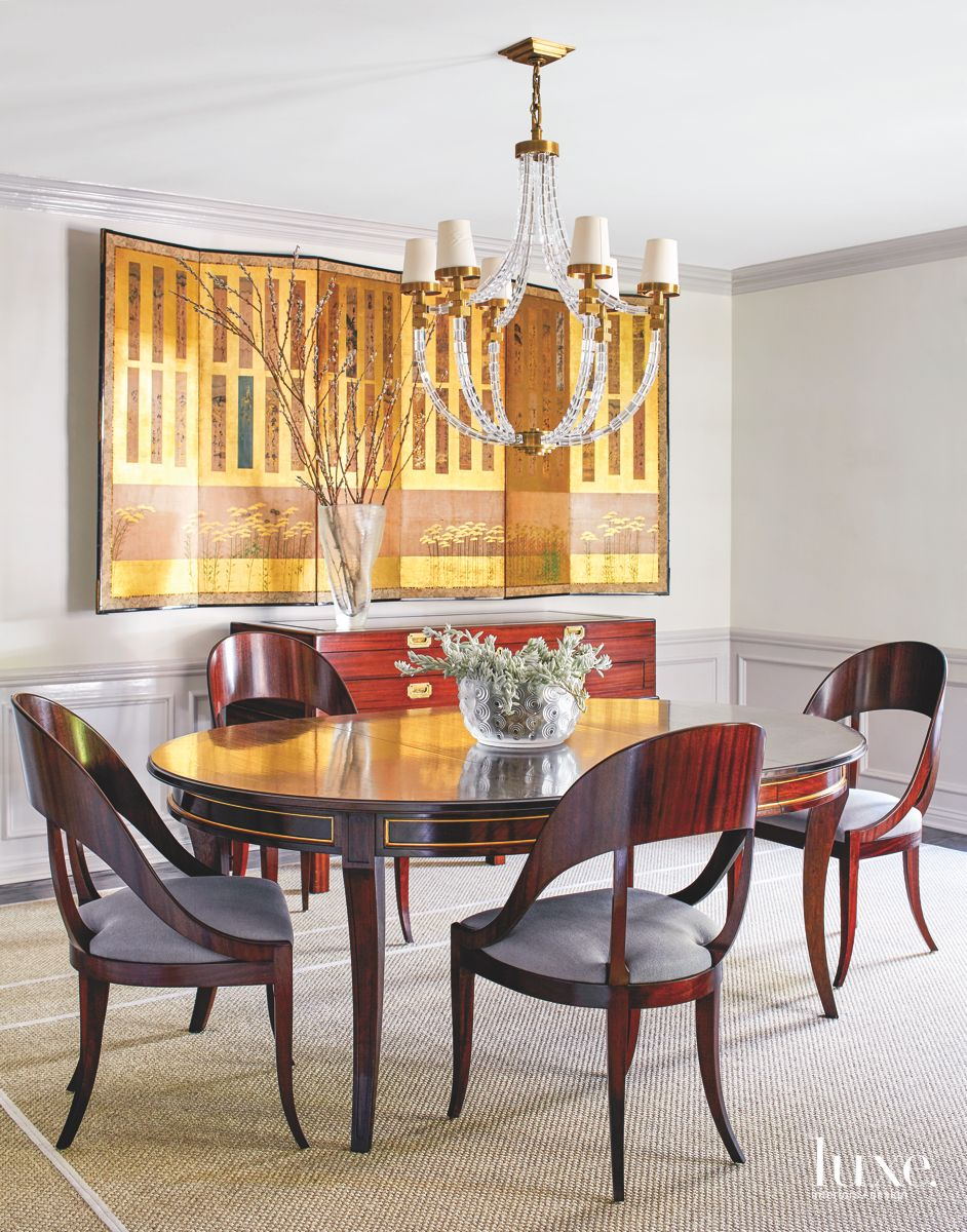 Vibrant Screen Wall Decor Dining Room with Chandelier