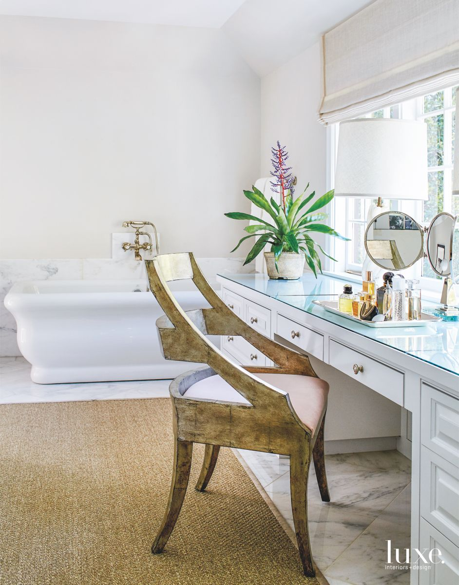 Built-In Master Bathroom Vanity with Feature Chair