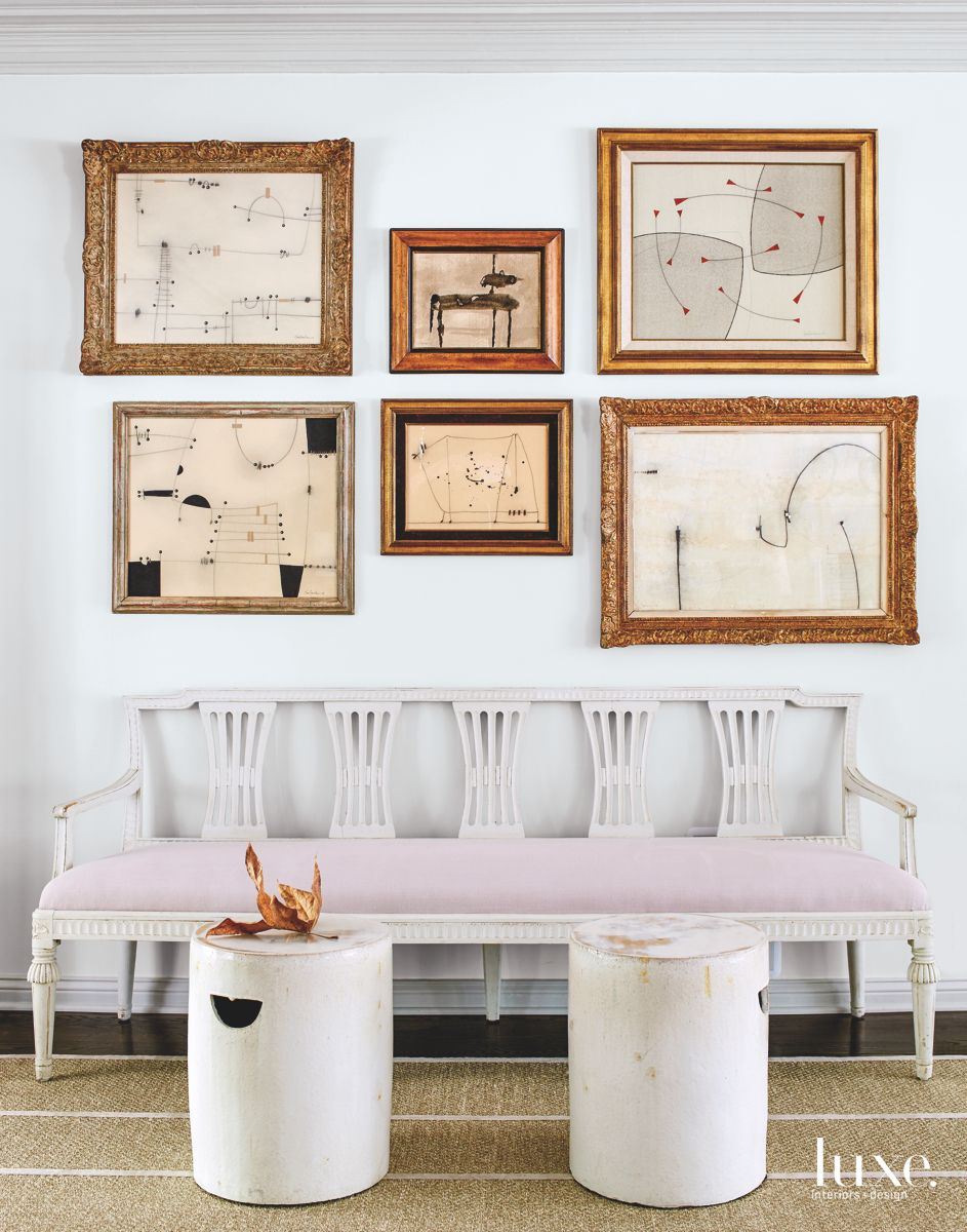 Living Room Seating Area with Framed Abstract Art