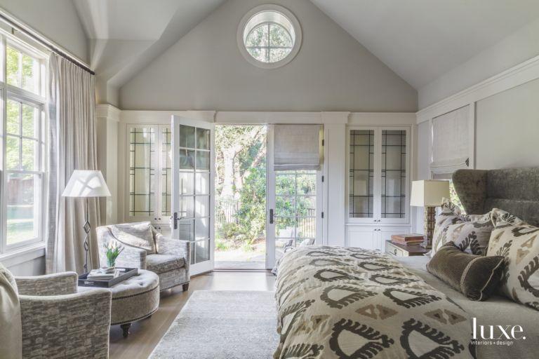 Circular Window Master Bedroom with Open Windows and Doors with ...
