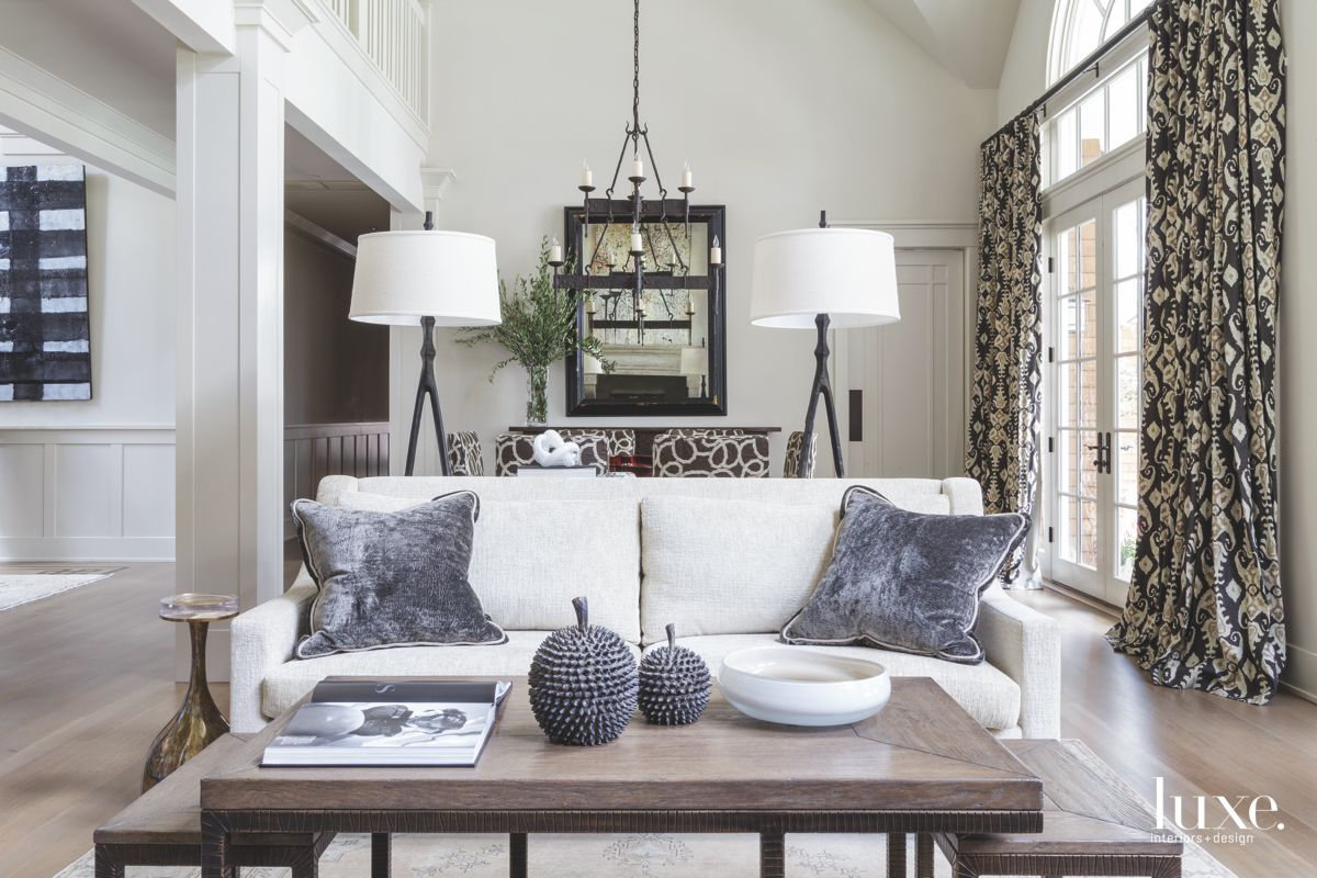Velvet Pillows On White Couch Living Room and Twin Lamps