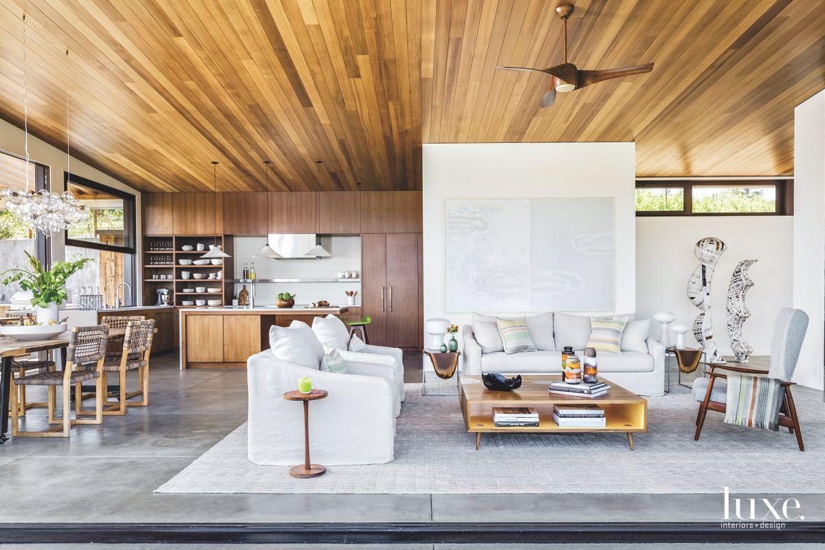 Open Living Dining Kitchen Featuring Art and Cedar