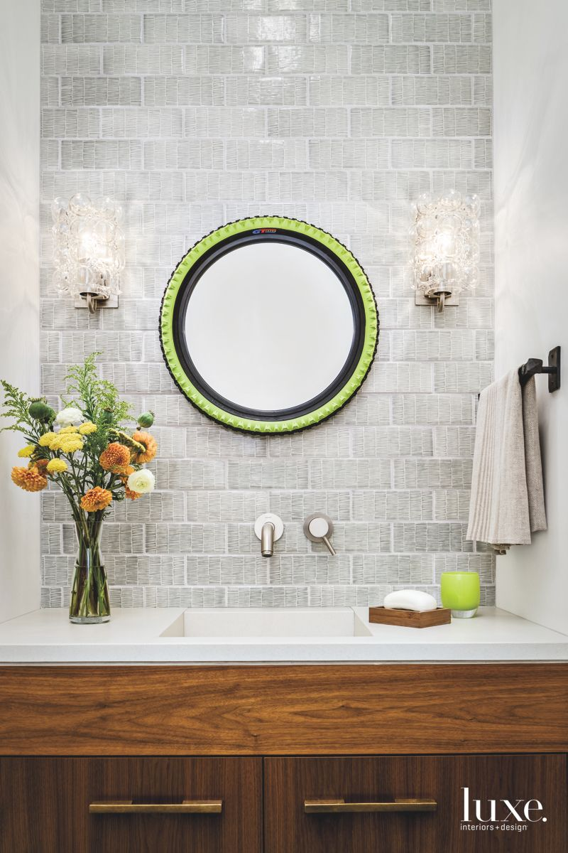 Recycled Bicycle Tire Mirror Powder Room