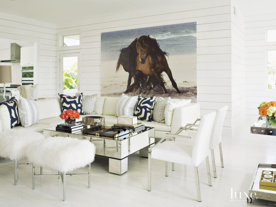 Contemporary White Living Room with Shiplap Paneling - Luxe