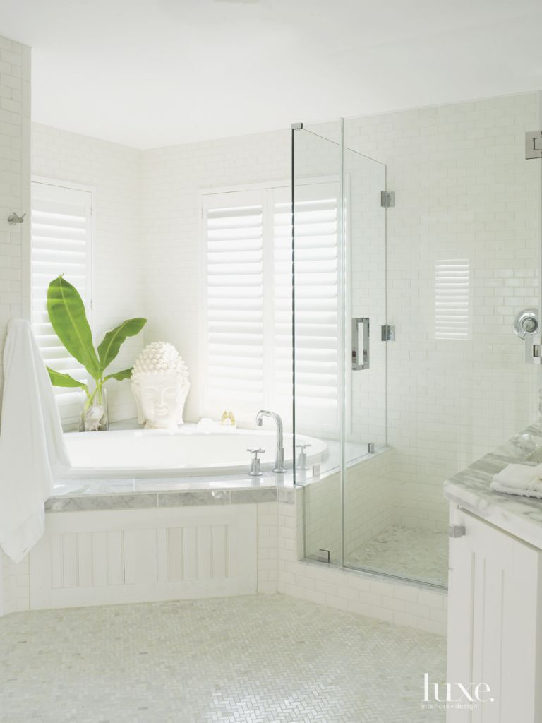 Contemporary All-White Master Bath - Luxe Interiors + Design