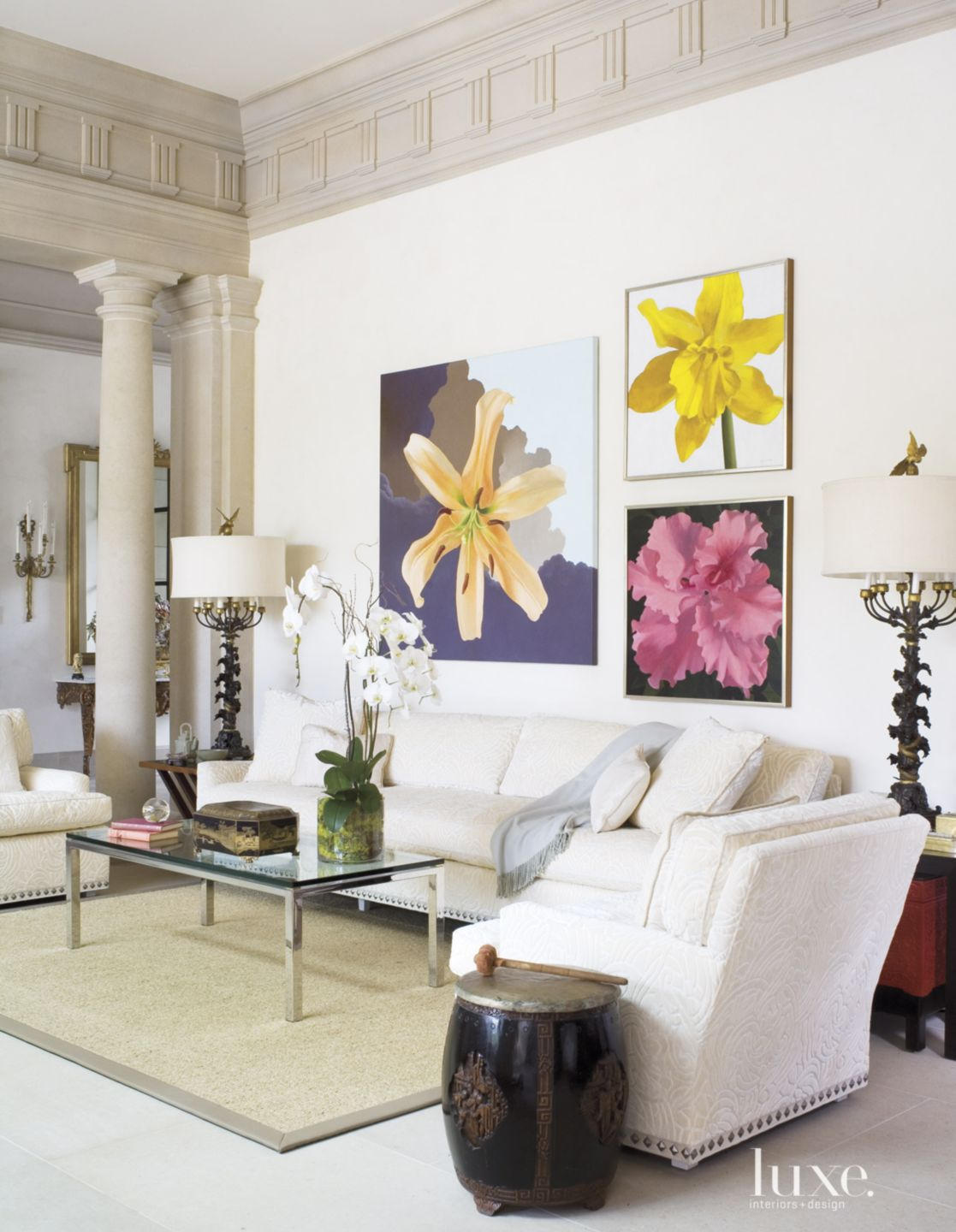 Traditional Cream Gallery Hall with Flower Paintings