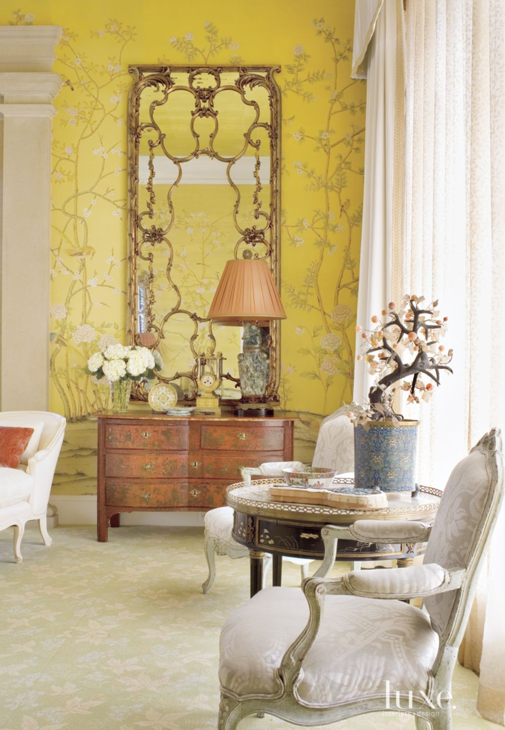 Traditional Yellow Bedroom with French Armchairs