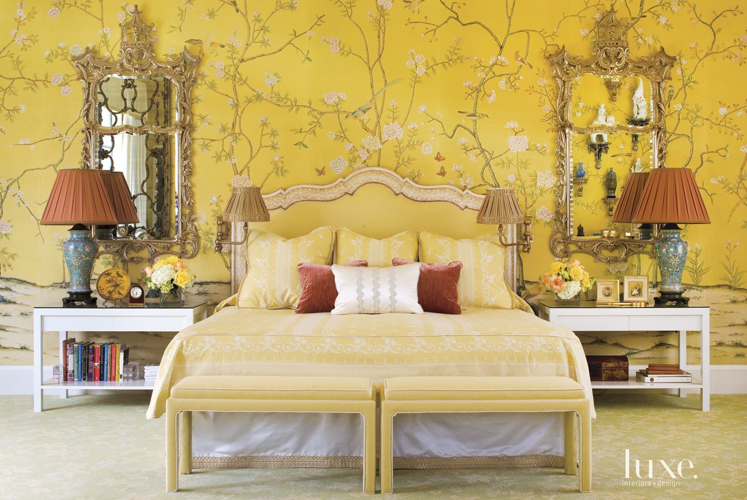 Traditional Yellow Bedroom with Painted Silk Wallpaper