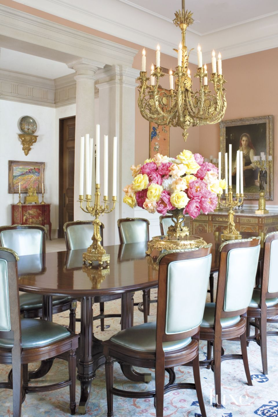 Traditional Pink Dining Room with Candle Chandelier