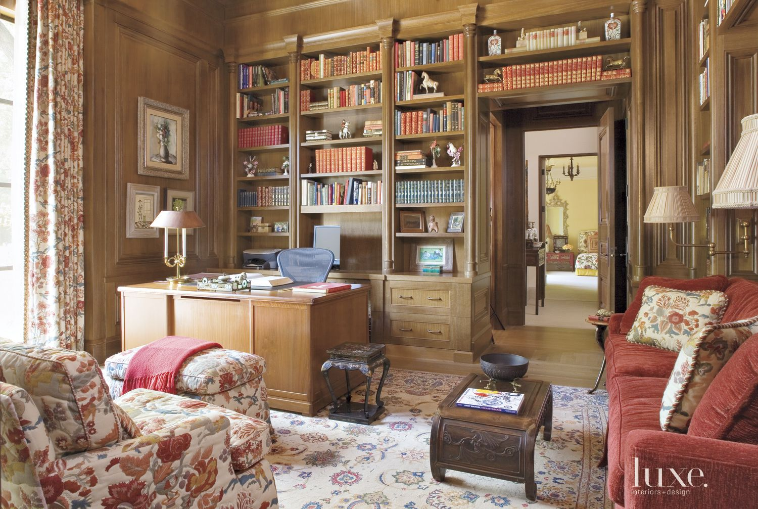 Traditional Neutral Library with White Oak Paneling