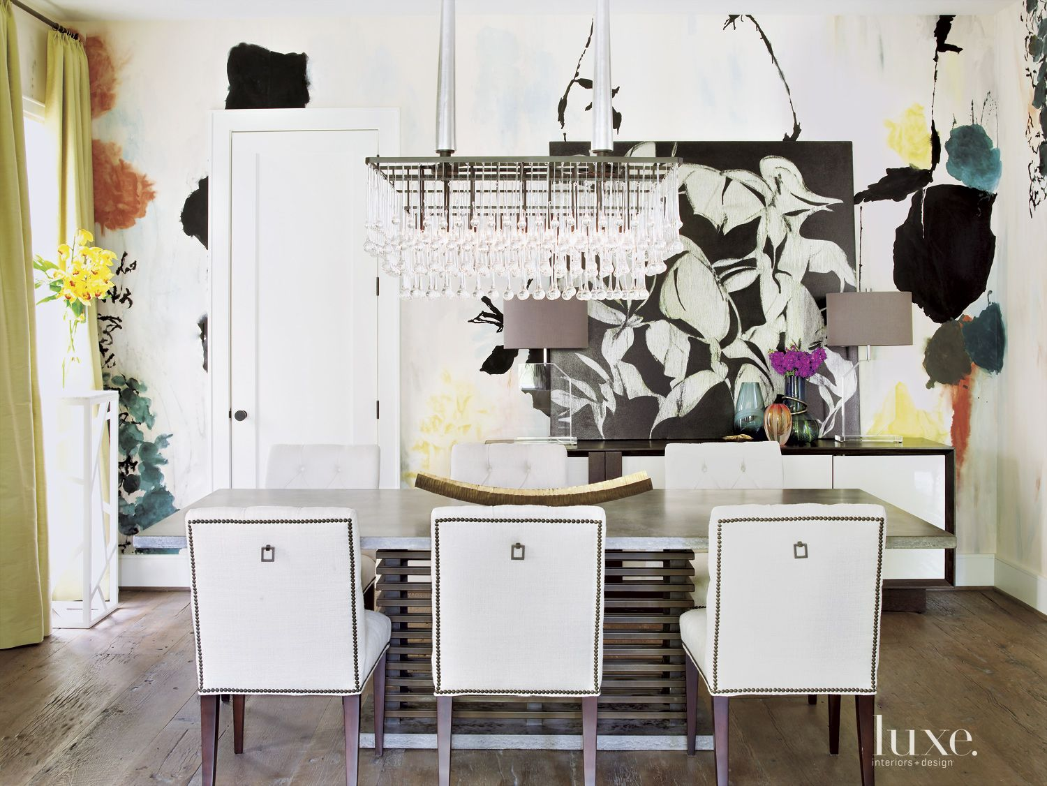 Transitional Neutral Dining Room with Hand-Painted Wallpaper