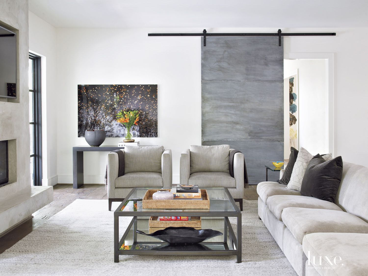 Transitional Neutral Family Room with Custom Seating