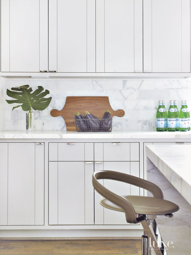 Transitional White Kitchen With Slab Door Cabinets Luxe Interiors