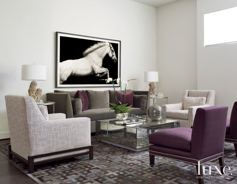 neutral modern living room with purple accents - luxe interiors + design
