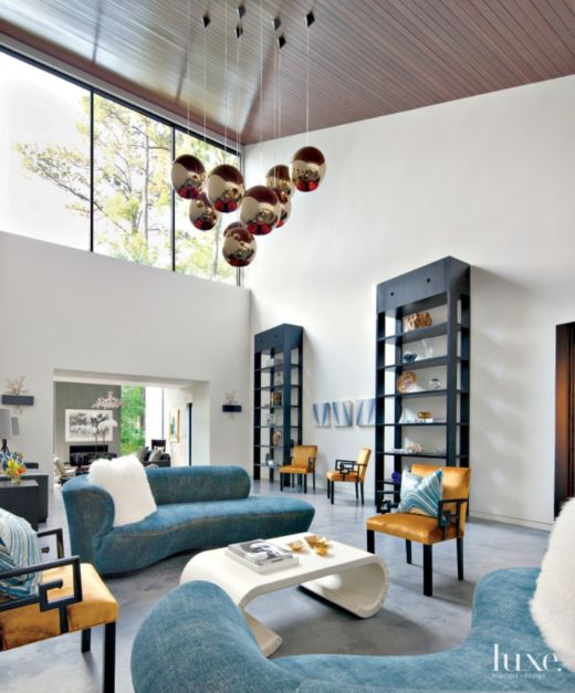 Modern White Double Height Great Room Luxe Interiors Design