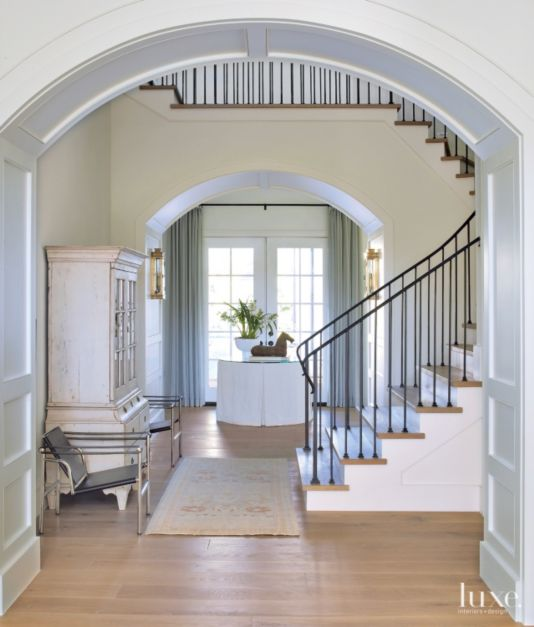 Transitional Foyer Hallway: Transitional White Paneled Foyer