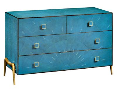 Teal Faux Shagreen Chest By Jonathan Charles Fine Furniture   Luxe  Interiors + Design