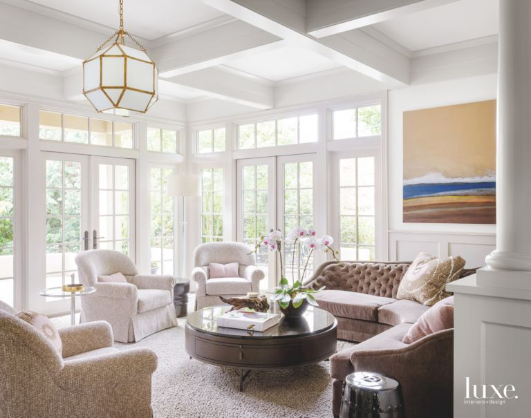 WellLit Family Room With Chandelier And Vignette Luxe Interiors - Lit design luxe