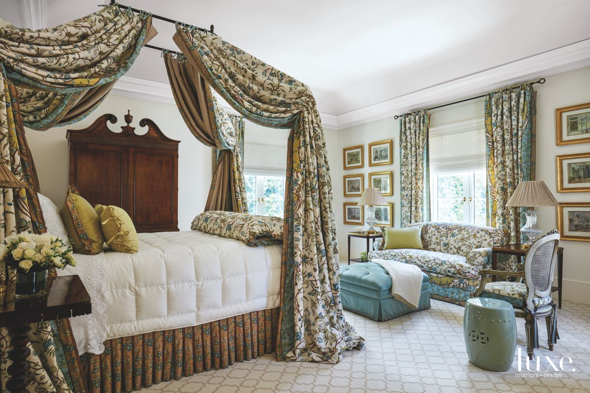 Floral Fabric in the Master Bedroom