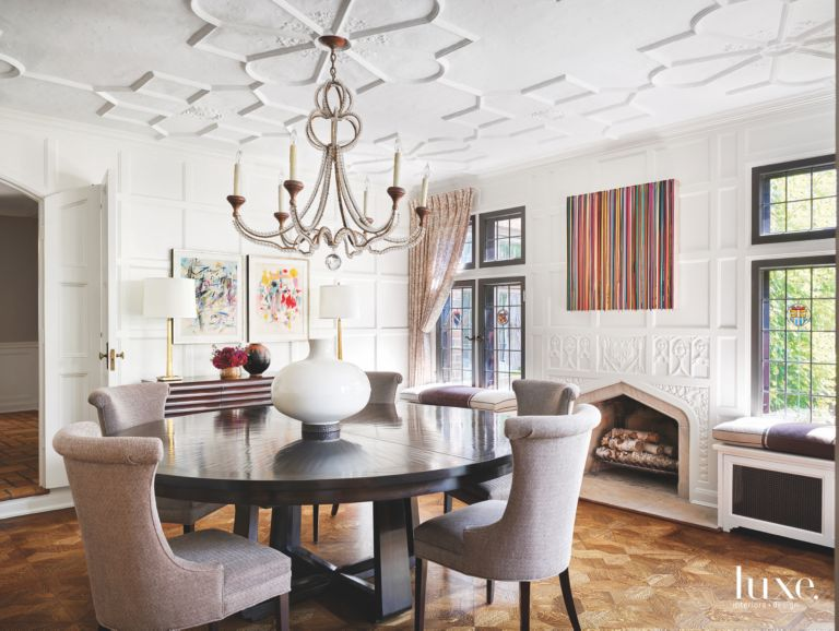 Detailed white ceiling dining room with chandelier artwork ornate related designs aloadofball Image collections