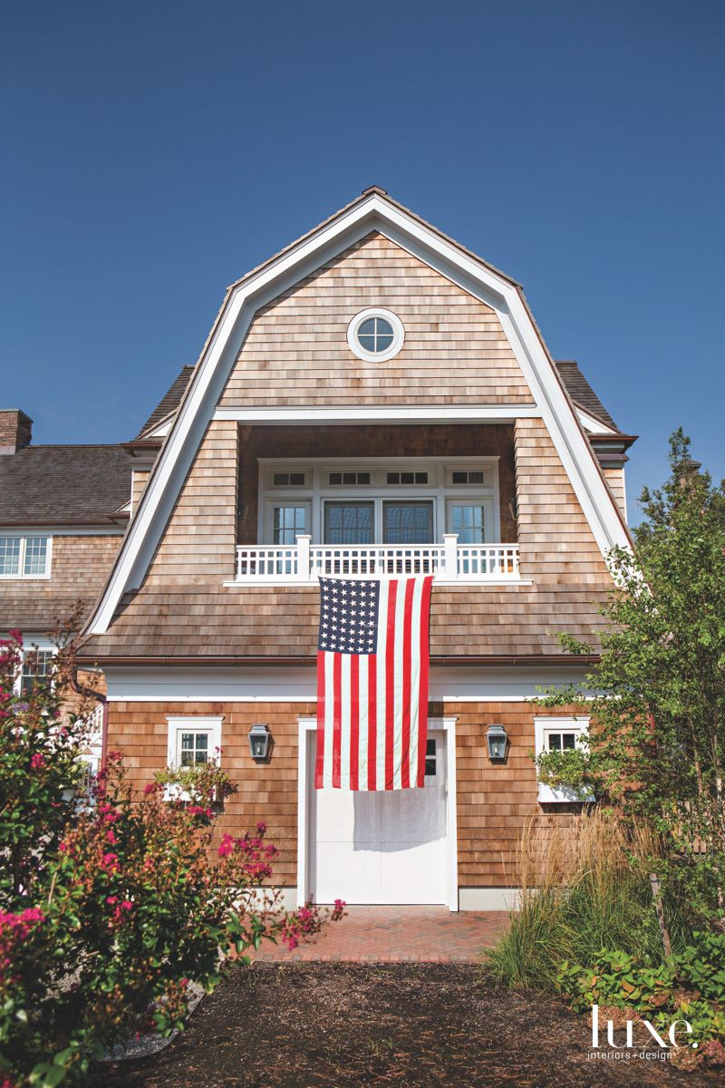 Traditional Shingle East Coast Jersey Shore Home with American Flag Exterior