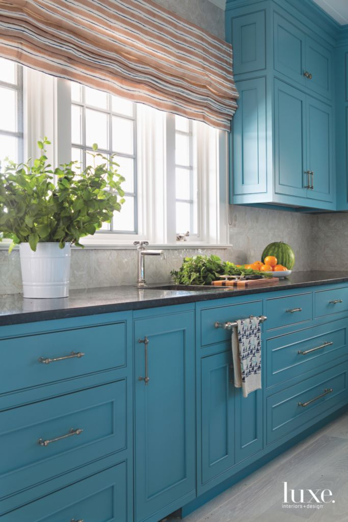 Strong Blue Cabinet Kitchen with Striped Warm Colored Roman Shades on white kitchen cabinets, gray kitchen cabinets, gold kitchen cabinets, translucent kitchen cabinets, burnt orange kitchen cabinets, soft black kitchen cabinets, purple kitchen cabinets, rustic kitchen cabinets, chinese red kitchen cabinets, yellow painted kitchen cabinets, brown kitchen cabinets, green kitchen cabinets, verde kitchen cabinets, beige kitchen cabinets, repainting kitchen cabinets, tan kitchen cabinets, country blue kitchen cabinets, cream kitchen cabinets, cornflower kitchen cabinets, dark red kitchen cabinets,