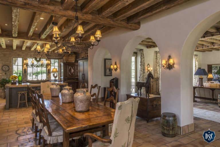Tuscan Style Kitchen and Dining Room DSC - Luxe Interiors + Design