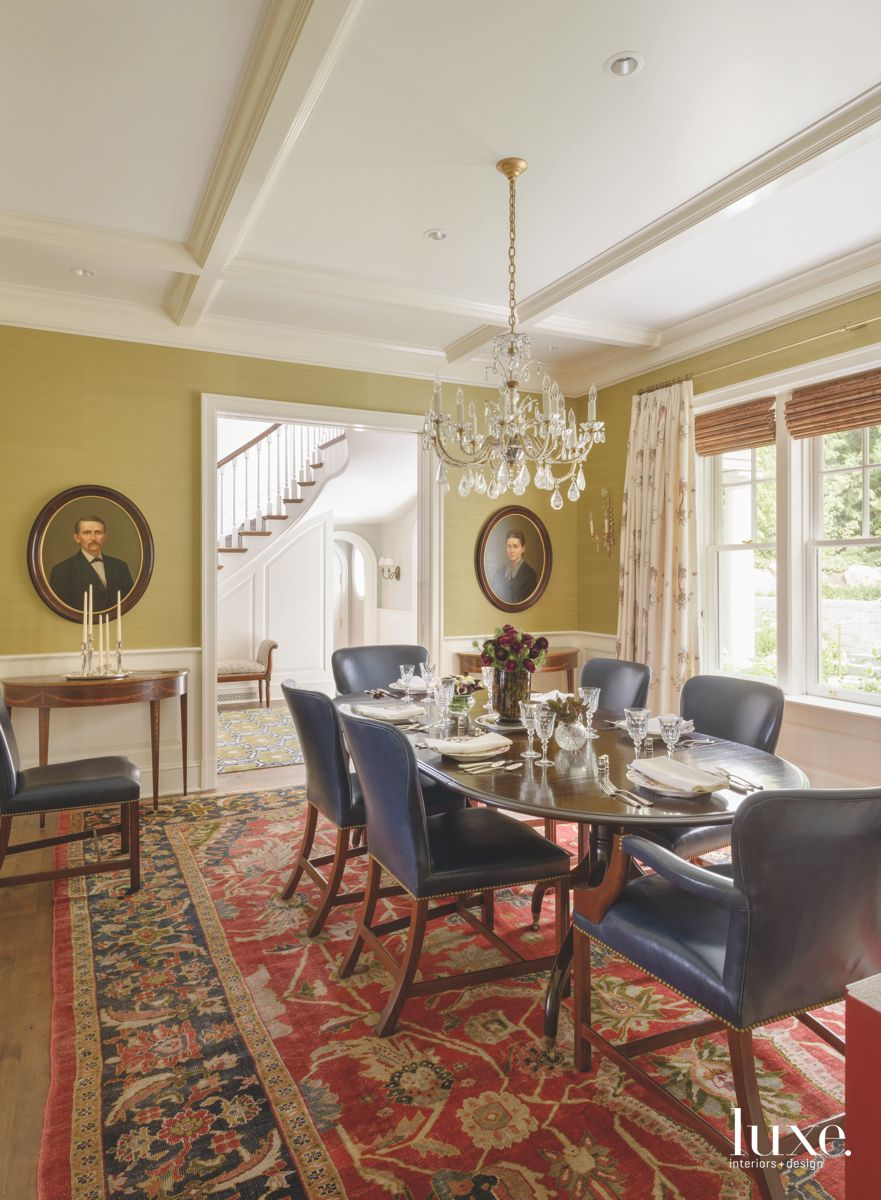 Contemporary Touch for a Green Formal Dining Room